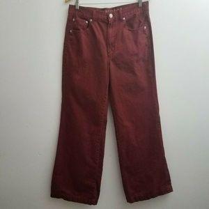 American Eagle Women Wide Leg Jeans Red Sz 12